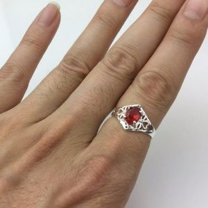 Jewelry - Ruby Red Sterling Silver CZ Ring - Size:(8)